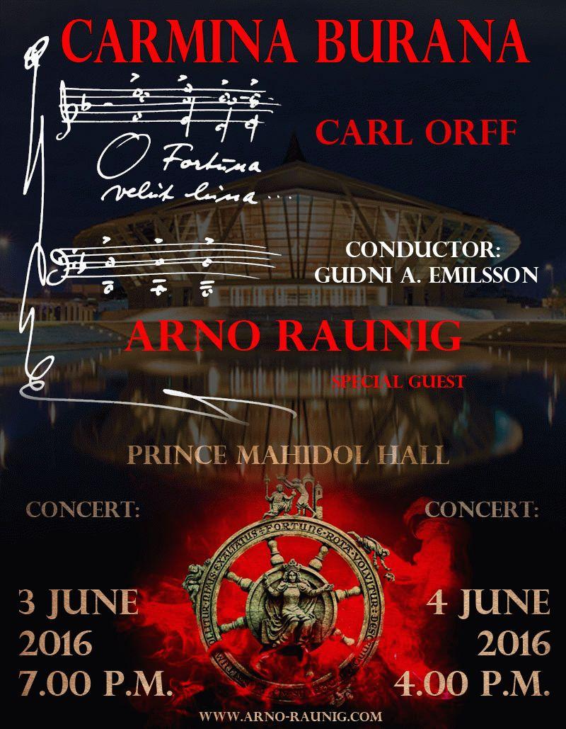 Concerts 3-4 June Carmina Burana with Arno Raunig