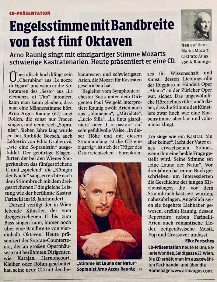 Arno Argos Raunig: Mozart - Castrato Arias